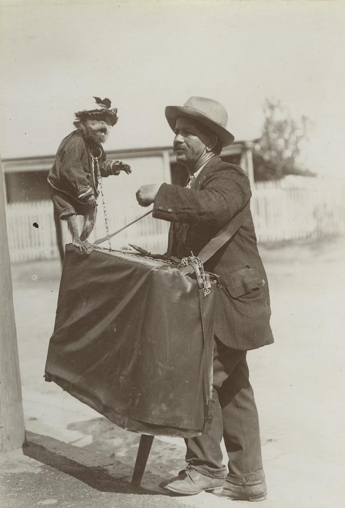 StateLibQld_2_255032_Barrel_organ_man_and_his_pet_monkey,_Brisbane,_1908